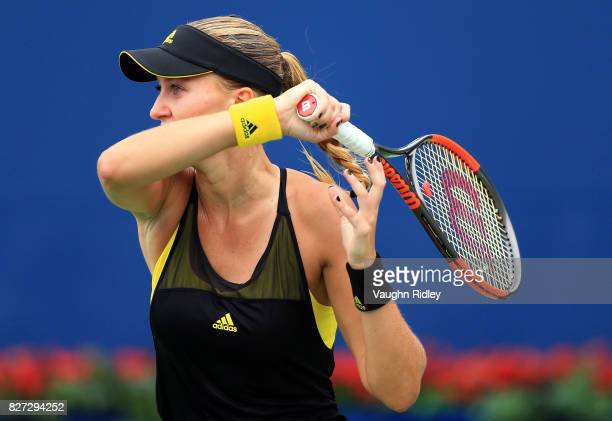 Kristina Mladenovic of France plays a shot against Barbora Strycova of Czech Republic during Day 3 of the Rogers Cup at Aviva Centre on August 7 2017...