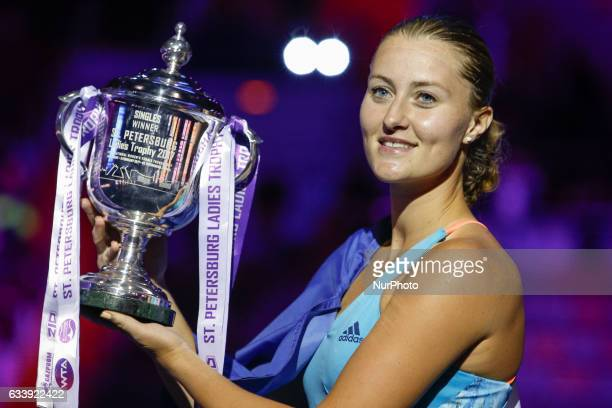 Kristina Mladenovic of France poses with a trophy after her final match against Yulia Putintseva of Kazakhstan at St Petersburg Ladies Trophy tennis...