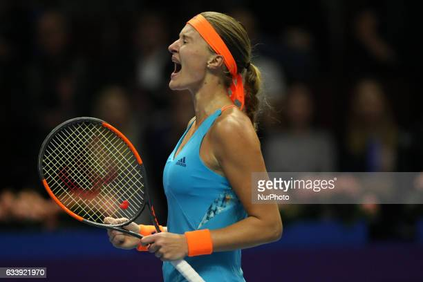 Kristina Mladenovic of France reacts as he competes against Yulia Putintseva of Kazakhstan during the St Petersburg Ladies Trophy ATP tennis...