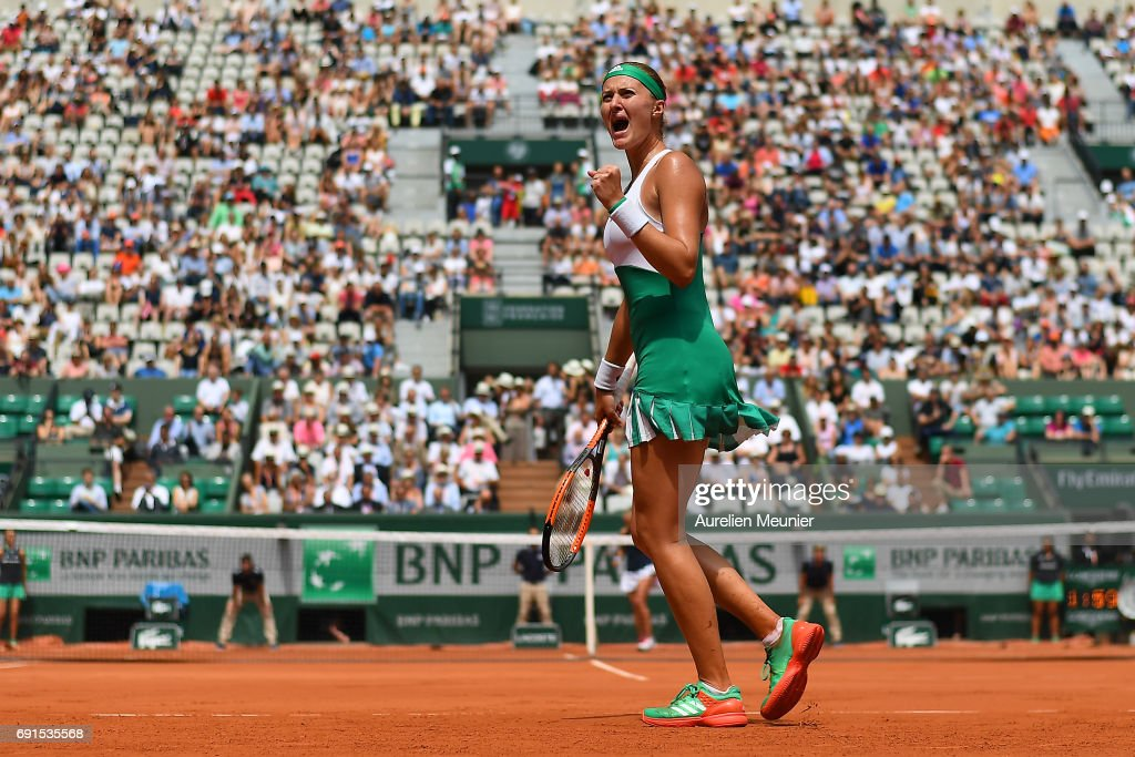 Kristina Mladenovic of France reacts during her Women's single match against Shelby Rogers of the United states of America on day six of the 2017 French Open at Roland Garros on June 02, 2017 in Paris, France.