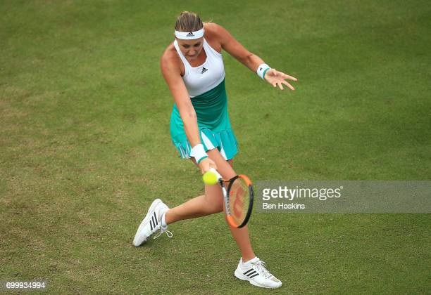 Kristina Mladenovic of France reacts during the second round match against Shuai Zhang of China on day four of The Aegon Classic Birmingham at...