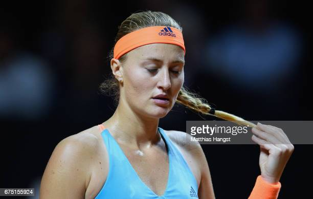 Kristina Mladenovic of France reacts during the singles final match against Laura Siegemund of Germany on Day 7 of the Porsche Tennis Grand Prix at...