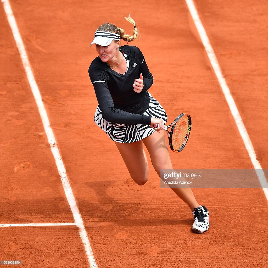 Kristina Mladenovic of France resturns the ball during women's single first round match at the French Open tennis tournament at Roland Garros in Paris, France on May 24, 2016.