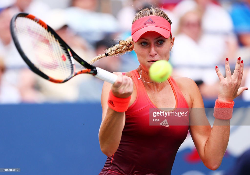 <a gi-track='captionPersonalityLinkClicked' href=/galleries/search?phrase=Kristina+Mladenovic&family=editorial&specificpeople=4835181 ng-click='$event.stopPropagation()'>Kristina Mladenovic</a> of France returns a shot to Daria Kasatkina of Russia during their Women's Singles Third Round match on Day Five of the 2015 US Open at the USTA Billie Jean King National Tennis Center on September 4, 2015 in the Flushing neighborhood of the Queens borough of New York City.