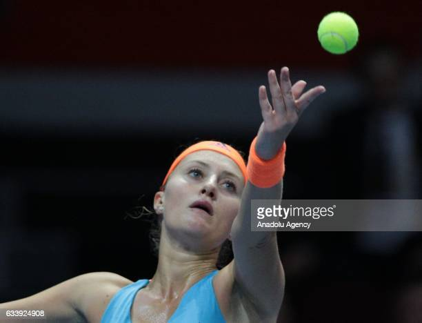 Kristina Mladenovic of France serves during her final match against Yulia Putintseva of Kazakhstan at the StPetersburg Ladies Trophy 2017 tennis...