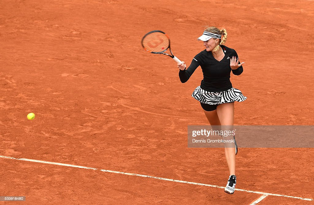 <a gi-track='captionPersonalityLinkClicked' href=/galleries/search?phrase=Angelique+Kerber&family=editorial&specificpeople=4307332 ng-click='$event.stopPropagation()'>Angelique Kerber</a> of Germany hits a forehand during the Ladies Singles first round match against Kiki Bertens of Netherlands on day three of the 2016 French Open at Roland Garros on May 24, 2016 in Paris, France.