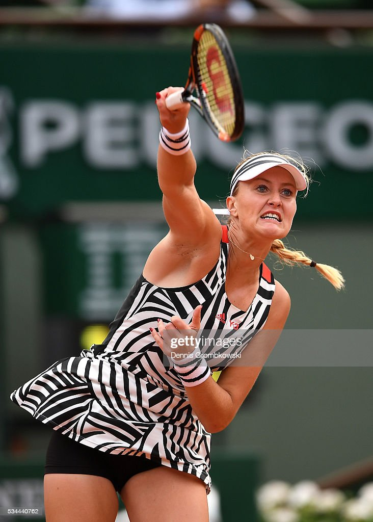 <a gi-track='captionPersonalityLinkClicked' href=/galleries/search?phrase=Kristina+Mladenovic&family=editorial&specificpeople=4835181 ng-click='$event.stopPropagation()'>Kristina Mladenovic</a> of France serves during the Ladies Singles second round match against Timea Babos of Hungary on day five of the 2016 French Open at Roland Garros on May 26, 2016 in Paris, France.