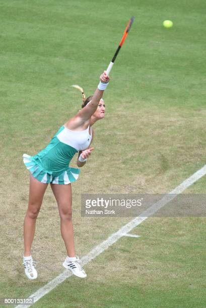 Kristina Mladenovic of France serves during the quarter final match against Petra Kvitova of Czech Republic on day five of The Aegon Classic...