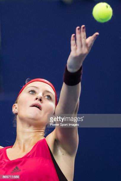 Kristina Mladenovic of France serves during the singles Round Robin match of the WTA Elite Trophy Zhuhai 2017 against Julia Goerges of Germany at...