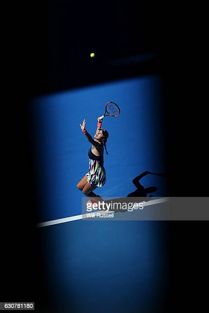 Kristina Mladenovic of France serves to Andrea Petkovic of Germany in the Womens single match on day two of the 2017 Hopman Cup at Perth Arena on...