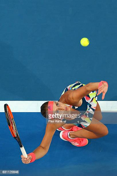 Kristina Mladenovic of France serves to Coco Vandeweghe of the United States in the women's singles match during the 2017 Hopman Cup Final at Perth...