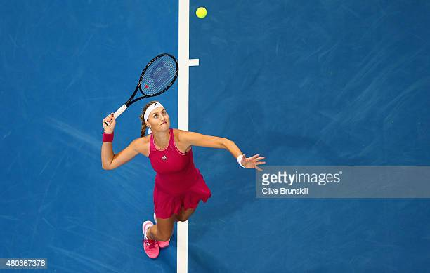 Kristina Mladenovic of the UAE Royals serves against Daniela Hantuchova of the Singapore Slammers during the CocaCola International Premier Tennis...