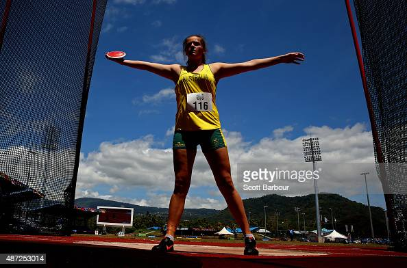 Kristina Moore of Australia prepares to throw in the Girls Discus during the Athletics at the Apia Park Sports Complex on day two of the Samoa 2015...