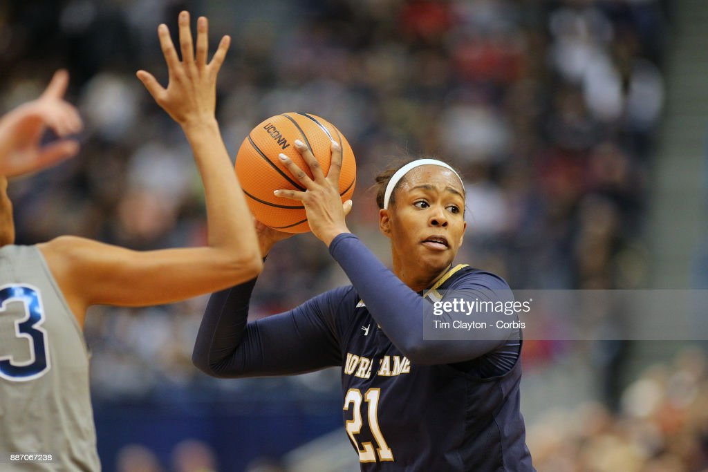 Kristina Nelson #21 of the Notre Dame Fighting Irish in action during the the UConn Huskies Vs Notre Dame, NCAA Women's Basketball game at the XL Center, Hartford, Connecticut. December 3, 2017