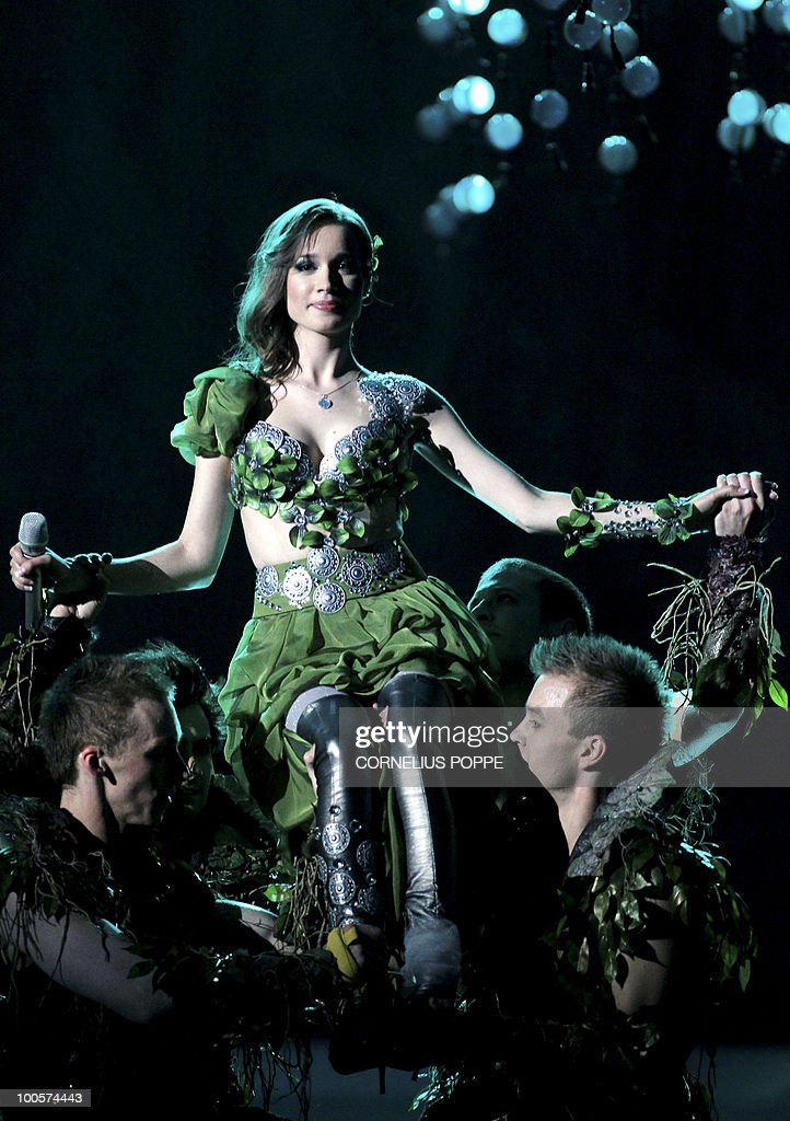Kristina Pelakova (C) from Slovakia performs the song 'Horehronie' during the semi-finals of the Eurovision Song Contest in Telenor Arena in Baerum, Norway, on May 25, 2010. The 55th Eurovision Song Contest finale will take place on May 29 in the Telenor Arena in Oslo, after Norwegian Alexander Rydbak took the top prize in Moscow last year with his song 'Fairytale'. AFP PHOTO/NORWAY/Cornelius Poppe ==NORWAY