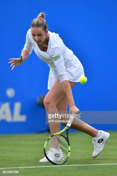 Kristina Pliskova plays a shot against Angelique Kerber during their women's singles round two tennis match at the ATP Aegon International tennis...