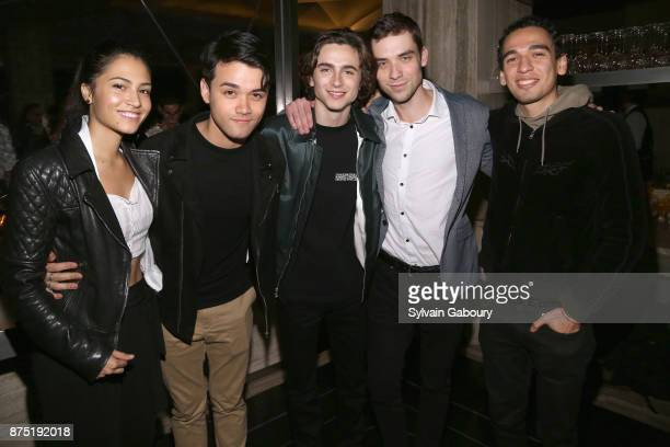 Kristina Reyes Giullian Gioiello and Timothee Chalamet attend Calvin Klein and The Cinema Society host the after party for Sony Pictures Classics'...