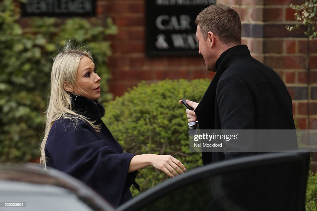 Kristina Rhianoff departs the funeral of David Gest at Golders Green Crematorium on April 29 2016 in London England