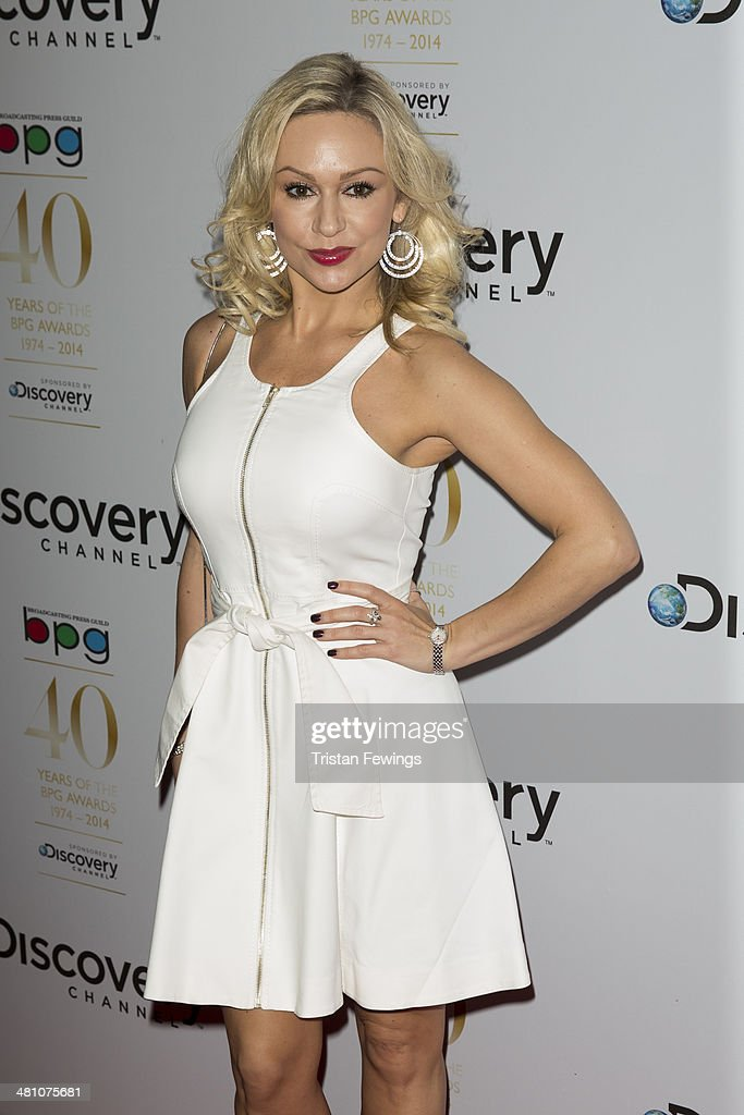 <a gi-track='captionPersonalityLinkClicked' href=/galleries/search?phrase=Kristina+Rihanoff&family=editorial&specificpeople=5584816 ng-click='$event.stopPropagation()'>Kristina Rihanoff</a> attends the Broadcasting Press Guild Awards sponsored by The Discovery Channel at Theatre Royal on March 28, 2014 in London, England.