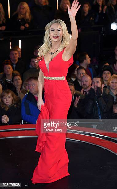Kristina Rihanoff enters the Celebrity Big Brother House at Elstree Studios on January 5 2016 in Borehamwood England
