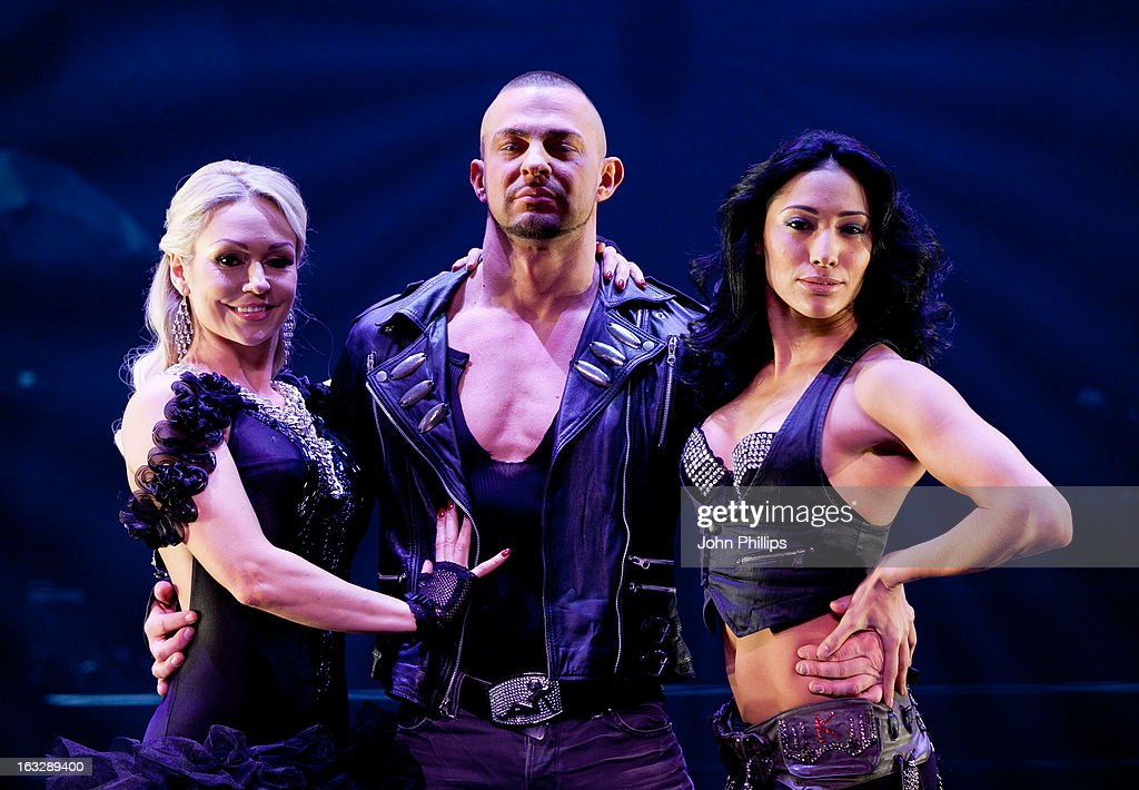 <a gi-track='captionPersonalityLinkClicked' href=/galleries/search?phrase=Kristina+Rihanoff&family=editorial&specificpeople=5584816 ng-click='$event.stopPropagation()'>Kristina Rihanoff</a> Robin Windsor and Karen Hauer perform during a photocall for 'Burn The Floor' at Shaftesbury Theatre on March 7, 2013 in London, England.