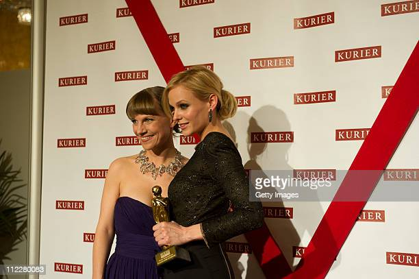 Kristina Sprenger and Mirjam Weichselbraun attend the 22nd KURIER ROMY Gala at the Hofburg on April 16 2011 in Vienna Austria The Austrian public is...