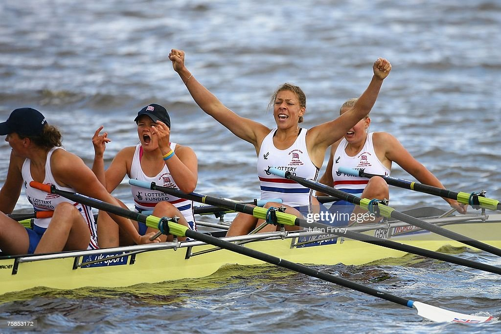 Kristina Stiller Francesca JusBurke Atlanta StJohn and Lauren Fisher of Great Britain celebrate winning bronze after the Quadruple Sculls final...