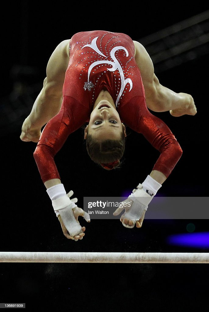 Kristina Vaculik of Canada in action on the parallel Bars during the 3rd day of the Men's Gymnastics Final at North Greenwich Arena on January 12, 2012 in London, England.