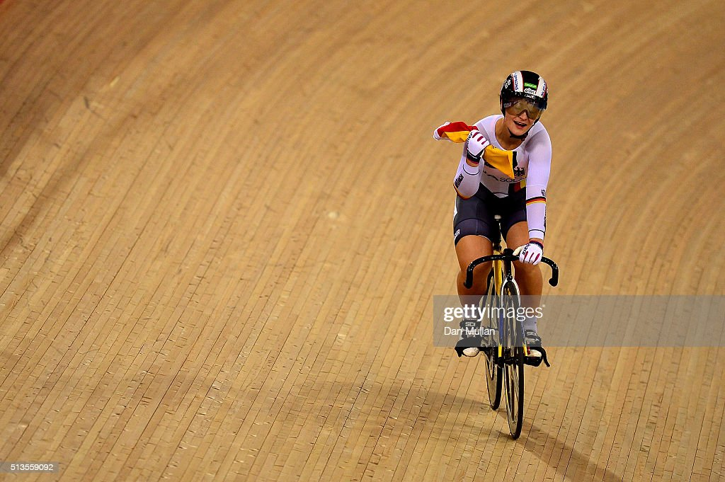 <a gi-track='captionPersonalityLinkClicked' href=/galleries/search?phrase=Kristina+Vogel&family=editorial&specificpeople=5779542 ng-click='$event.stopPropagation()'>Kristina Vogel</a> of Germany after winning the Women's Keirin final during Day Two of the UCI Track Cycling World Championships at Lee Valley Velopark Velodrome on March 3, 2016 in London, England.