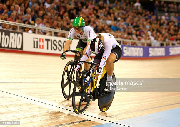 Kristina Vogel of Germany beats Anna Mears of Australia to win take third in the Women's Sprint during Day Five of the UCI Track Cycling World...