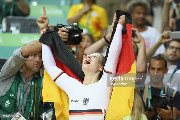 Kristina Vogel of Germany celebrates after winning gold during the Women's Sprint Finals gold medal race against Rebecca James of Great Britain on...