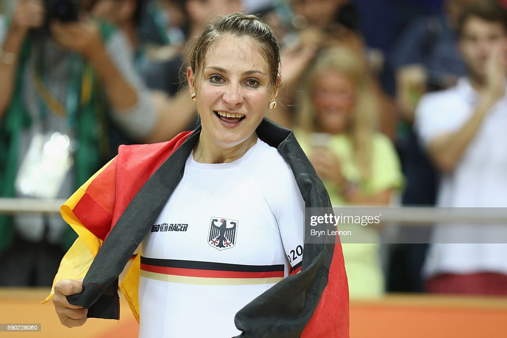 Kristina Vogel of Germany celebrates after winning gold during the Women's Sprint Finals gold medal race against Rebecca James of Great Britain on Day 11 of the Rio 2016 Olympic Games at the Rio Olympic Velodrome on August 16, 2016 in Rio de Janeiro, Brazil.