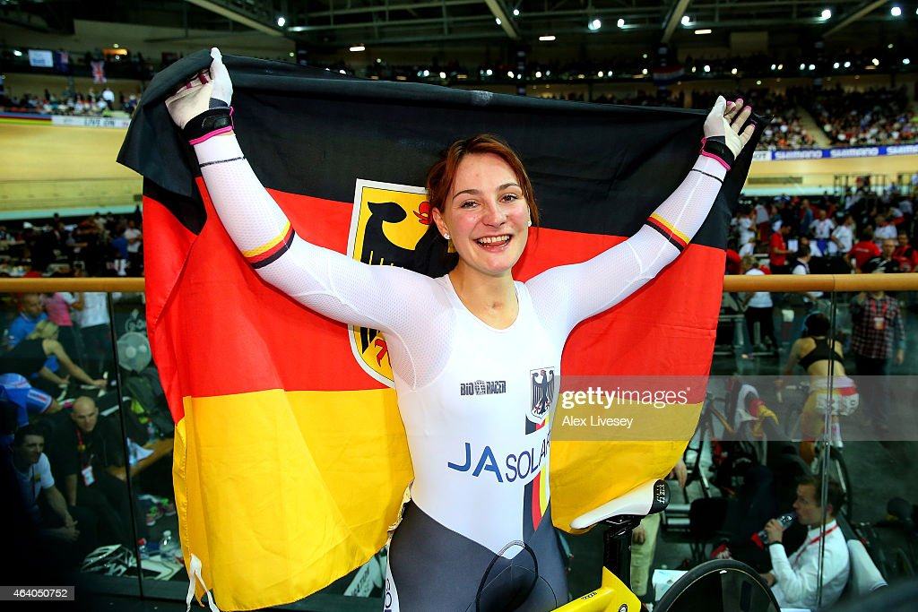 <a gi-track='captionPersonalityLinkClicked' href=/galleries/search?phrase=Kristina+Vogel&family=editorial&specificpeople=5779542 ng-click='$event.stopPropagation()'>Kristina Vogel</a> of Germany celebrates winning gold in the Women's Sprint Final on day four of the UCI Track Cycling World Championships at The National Velodrome on February 21, 2015 in Paris, France.