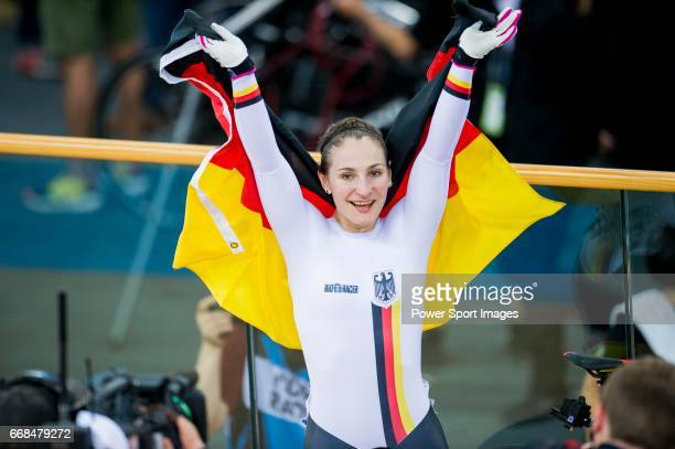 Kristina Vogel of Germany celebrates winning in the Women's Sprint Finals during 2017 UCI World Cycling on April 14 2017 in Hong Kong Hong Kong