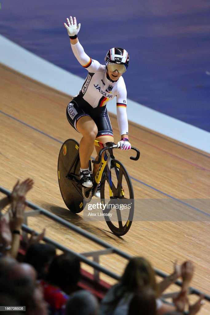 <a gi-track='captionPersonalityLinkClicked' href=/galleries/search?phrase=Kristina+Vogel&family=editorial&specificpeople=5779542 ng-click='$event.stopPropagation()'>Kristina Vogel</a> of Germany celebrates winning the Women's Keirin on day three of the UCI Track Cycling World Cup at Manchester Velodrome on November 3, 2013 in Manchester, England.
