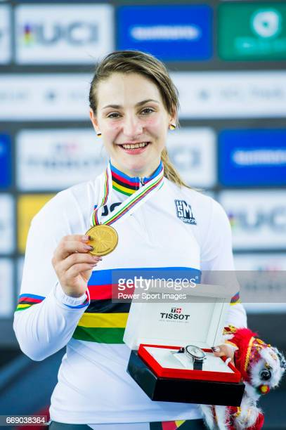 Kristina Vogel of Germany celebrates winning the Women's Keirin's prize ceremony during 2017 UCI World Cycling on April 16 2017 in Hong Kong Hong Kong