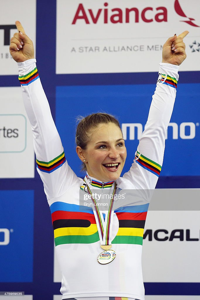 Kristina Vogel of Germany celebrates winning the Women's Sprint on day four of the 2014 UCI Track Cycling World Championships at the Velodromo...