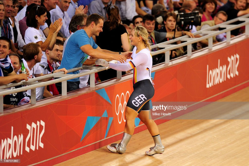 <a gi-track='captionPersonalityLinkClicked' href=/galleries/search?phrase=Kristina+Vogel&family=editorial&specificpeople=5779542 ng-click='$event.stopPropagation()'>Kristina Vogel</a> of Germany celebrates with family after the Women's Sprint Track Cycling final on Day 6 of the London 2012 Olympic Games at Velodrome on August 2, 2012 in London, England.