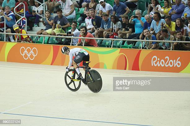 Kristina Vogel of Germany defeats Rebecca James of Great Britain during the Women's Sprint Finals gold medal race on Day 11 of the Rio 2016 Olympic...