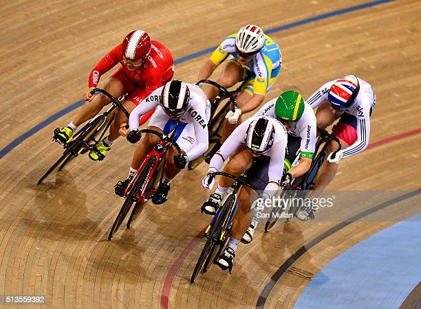 Kristina Vogel of Germany in action on her way to winning the Women's Keirin final during Day Two of the UCI Track Cycling World Championships at Lee...