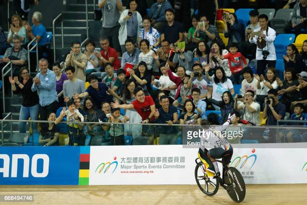 Kristina Vogel of Germany waves to spectators after winning Women's Sprint Finals on Day 3 in 2017 UCI Track Cycling World Championships at Hong Kong...