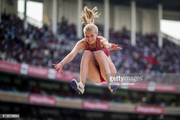 Kristine Blazevica of Latvia competes in the girls long jump during day 5 of the IAAF U18 World Championships at Moi International Sports Centre...