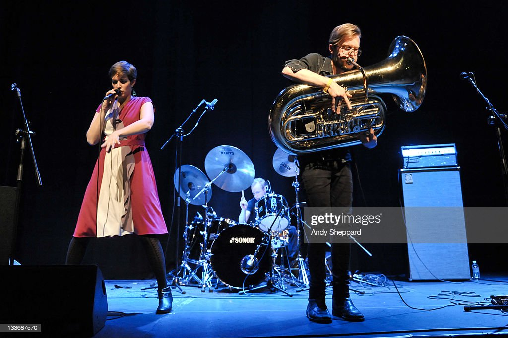 Kristine Hoem, Trond Bersu and Kristoffe Lo of PELbO perform on stage at Kings Place during Day 9 of the London Jazz Festival 2011 on November 19, 2011 in London, United Kingdom.