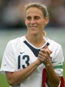 Kristine Lilly of the United States looks on prior to an international friendly match against Ukraine on July 10 2005 at Merlo Field in Portland...