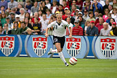 Kristine Lilly of the United States moves the ball through midfield against Ukraine during an international friendly match on July 10 2005 at Merlo...