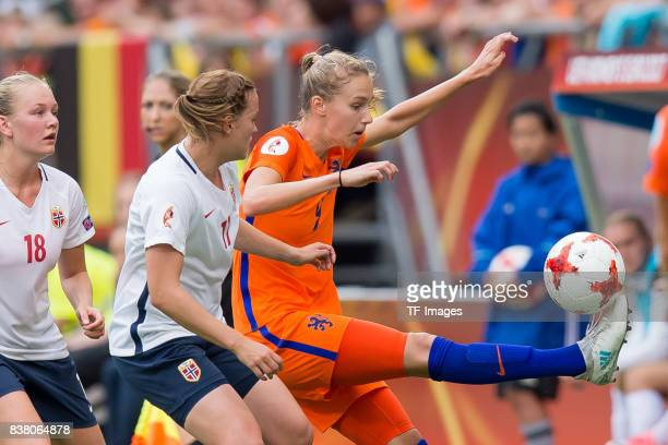 Kristine Minde of Norway and Vivianne Miedema of the Netherlands battle for the ball during their Group A match between Netherlands and Norway during...