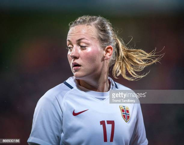 Kristine Minde of Norway during the FIFA 2018 World Cup Qualifier between Netherland and Norway at Noordlease Stadion on October 24 2017 in Groningen