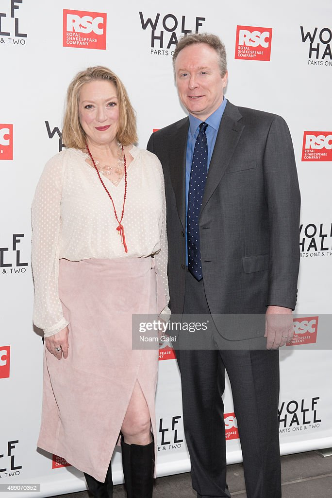 Kristine Nielsen and Brent Langdon attend the openning Night of 'Wolf Hall' at Winter Garden Theatre on April 9 2015 in New York City