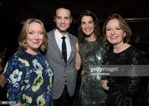 Kristine Nielsen Jordan Roth Cobie Smulders and Kate Burton attend 'Present Laughter' opening night party at Gotham Hall on April 5 2017 in New York...