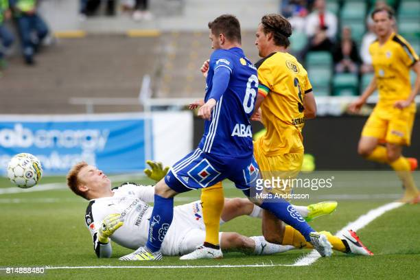 Kristinn Freyr Sigurdsson of GIF Sundsvall and Isak Pettersson goalkeeper in action during the Allsvenskan match between GIF Sundsvall and Halmstad...